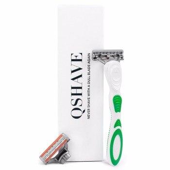 Бритвенный станок для женщин Qshave Green Series + лезвия X3 6 шт 4