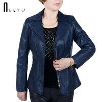 ASLTW XL 6XL 5 Colors Leather Jacket Women New Fashion Plus Size Solid Zipper Jacket Turn
