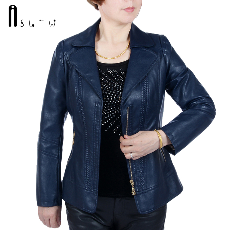 ASLTW XL-6XL 5 Colors   Leather   Jacket Women New Fashion Plus Size Solid Zipper Jacket Turn Down Long Sleeve Faux   Leather   Coat