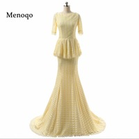 2018 Perfect beauty Mermaid Half sleeve long train lace prom dresses real sample sexy evening gowns special occasions DB22602