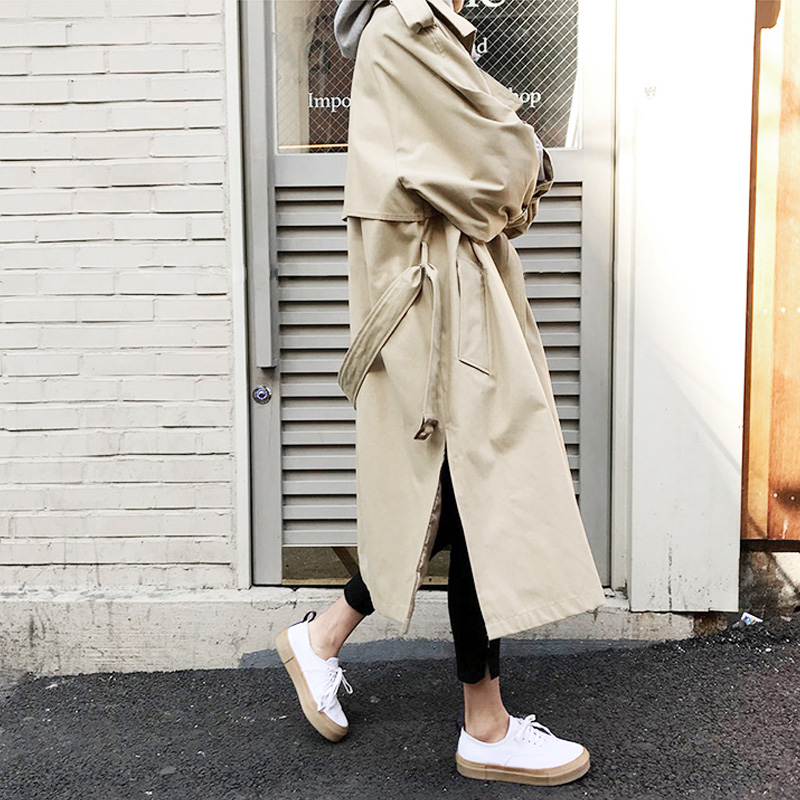 2019 Autumn New Women's Casual   Trench   Coat Oversize Single Breasted Vintage Washed Outwear Loose Clothing