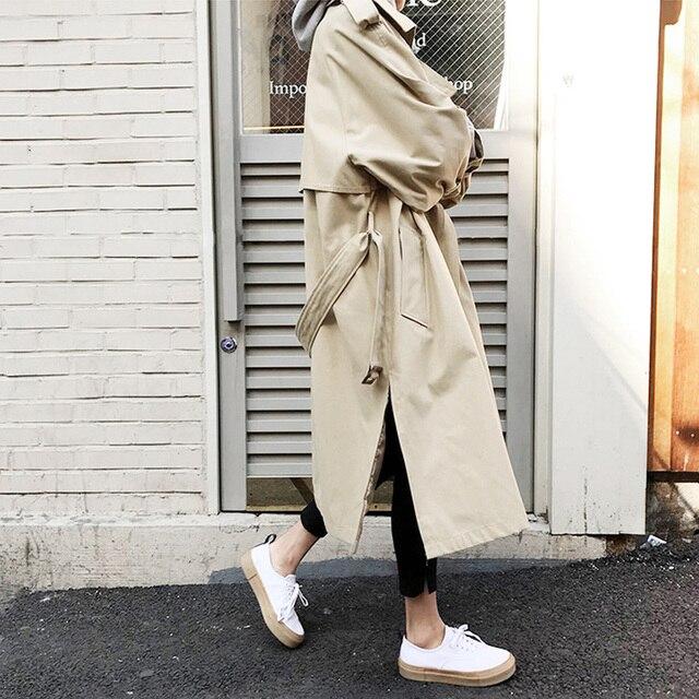 2019 Outono Nova das Mulheres Trench Coat Casual Oversize Único Breasted Outwear Roupas Soltas Do Vintage Lavado