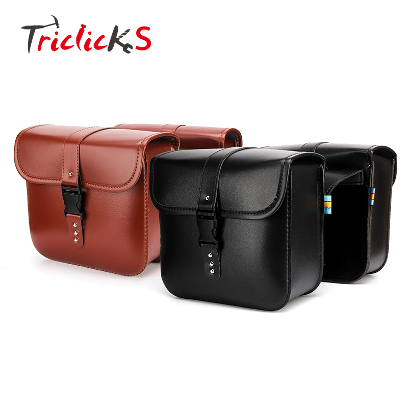 Triclicks Pair Black Universal Motorcycle PU Leather Saddlebags Storage Tool Pouches Bags Left Right Saddle Bag