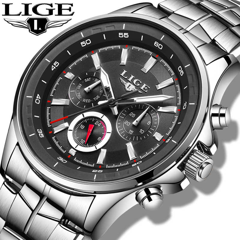 LIGE Mens Watches Top Brand Luxury Quartz Watch Men Waterproof Sport Watch Fashion Casual Military Clock Male Relogio Masculino