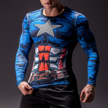 Captain 3D Printed T shirts Men Compression Shirts 2019 Long