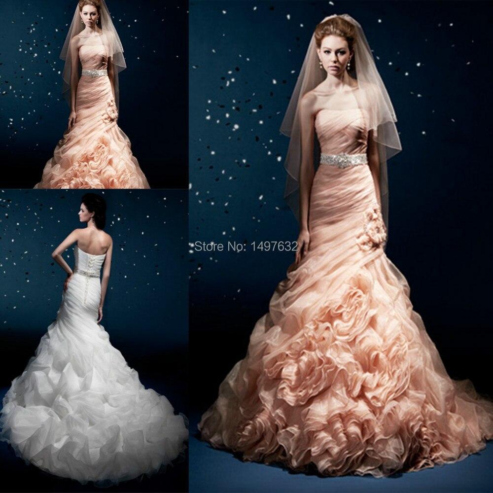 elegant strapless sleeveless beaded mermaid ruffle train peach colored wedding dresses 2016