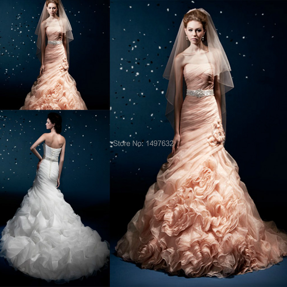Popular peach colored wedding dresses buy cheap peach for Peach dresses for wedding