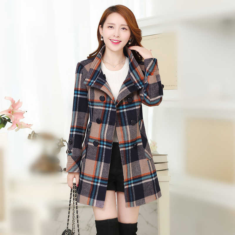 New autumn and winter women Double-breasted woolen coat women's long plaid cashmere coat Slim plus size Keep warm Woolen Jacket