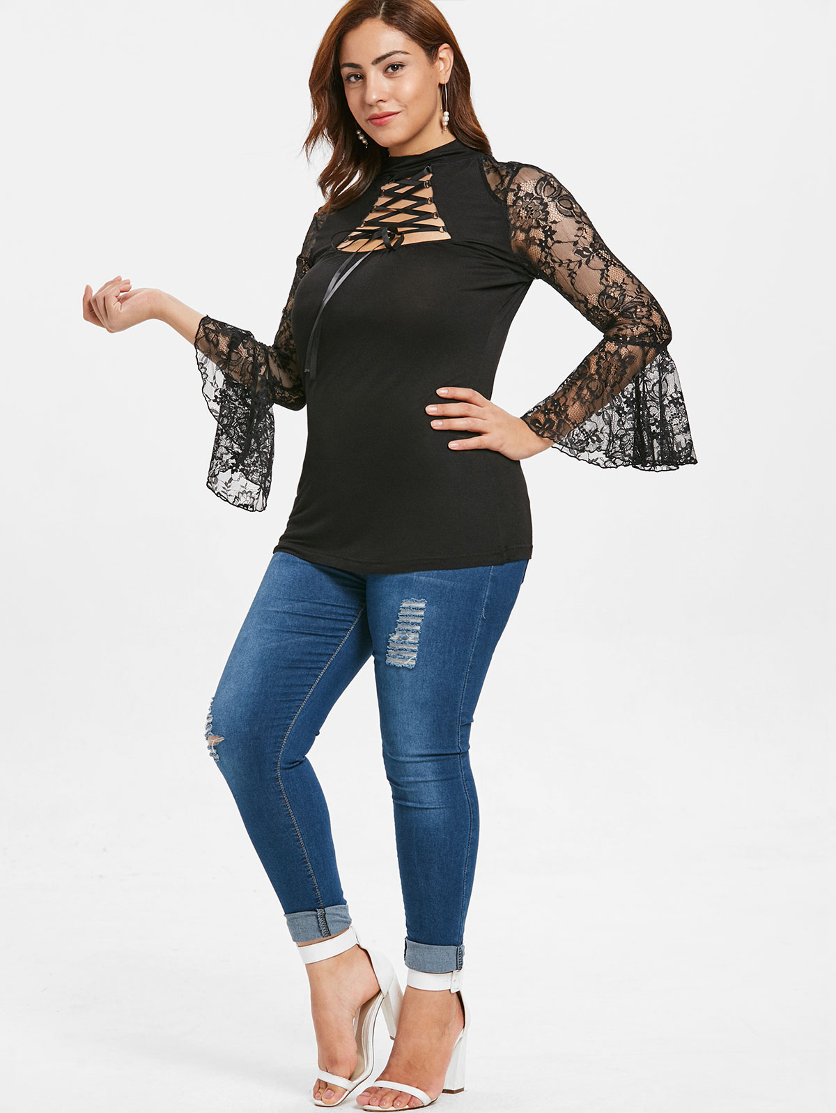 556aad00b6dc4 Wipalo Plus Size 5XL Sheer Lace Insert Cut Out Lace Up T Shirt Turtleneck Criss  Cross Flare Sleeve Casual Solid Ladies Tee Top-in T-Shirts from Women s ...