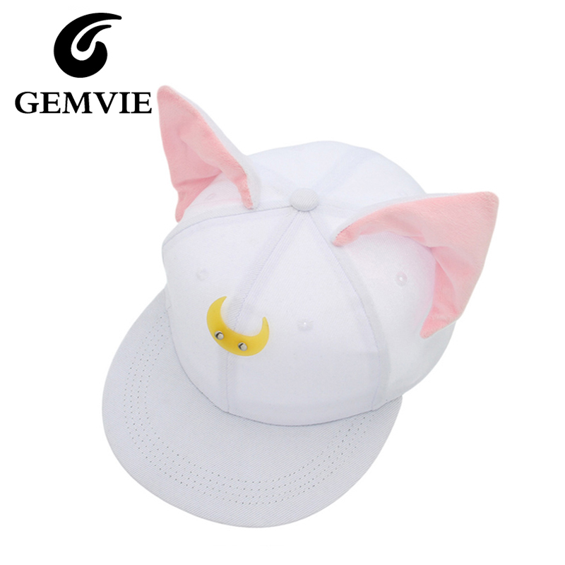 Pretty Soldier Sailor Moon Loona Same Style Baseball Hats Women Cute Cat Ears Hip Hop Snapback Casquette Gorras new year gifts new 2017 hats for women mix color cotton unisex men winter women fashion hip hop knitted warm hat female beanies cap6a03