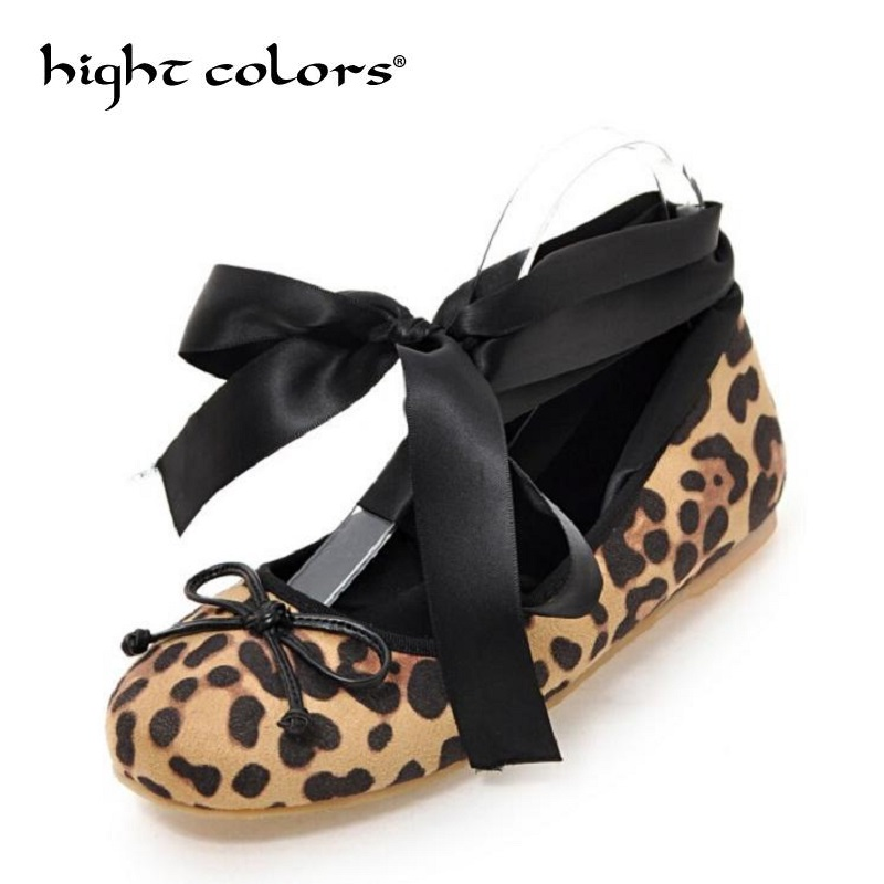 US 17 Leopard Women's Strappy Leopard Round Toe Ballet Flat Causal Shoes Loafers Ribbon Moccasins Shoes For Women Cross Straps fashionable tassels ornament leopard pattern flat shoes loafers black leopard pair size 36