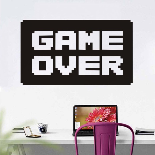 Game Over Wall Stickers Self Adhesive Letter Quotes Wallpaper ...
