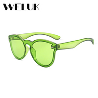 d8a98bdc093f WELUK Mirror Cover Women Sunglasses Candy Color Cat Eye Shades Luxury Brand  Designer Sun glasses Integrated Eyewear Lady Oculos