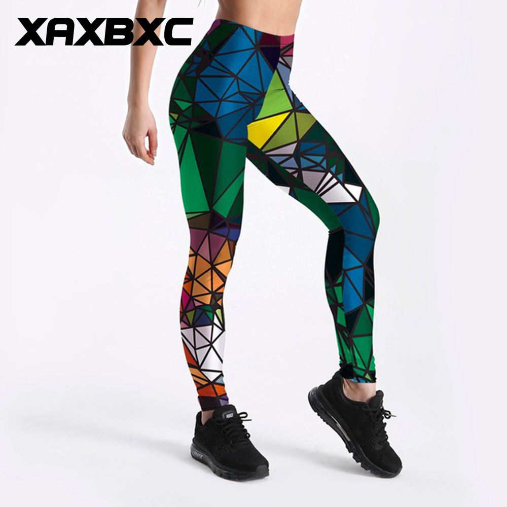 XAXBXC 3834 New Colored Diamond Triangle Prints Fitness Workout Push Up Women Leggings Slim Sexy Female Pencil Pants Plus Size