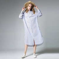 2017 New Autumn Lapel Long Sleeve Blue Yellow Shirt Dress Striped Irregular Loose Big Size Dress