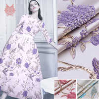 Luxury pink purple blue 3D floral bird metallic jacquard brocade fabric apparel for dress tissu tecido stoffen fabrc tela SP5170