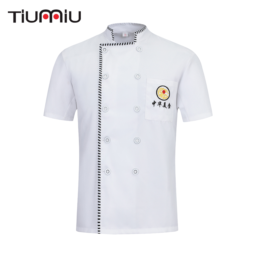 2019 Chef Jacket Men Women Breathable Chef Uniform Food Service Restaurant Hotel Kitchen Barber Work Clothes Waitress Cook Shirt