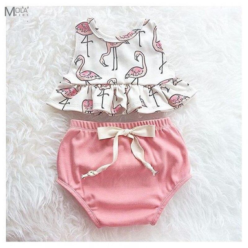 KIKIKIDS/новорожденных Комплект для малышей Детские наборы Детская модный костюм для девочек Летняя розовая одежда хлопковая Костюмы детская ...