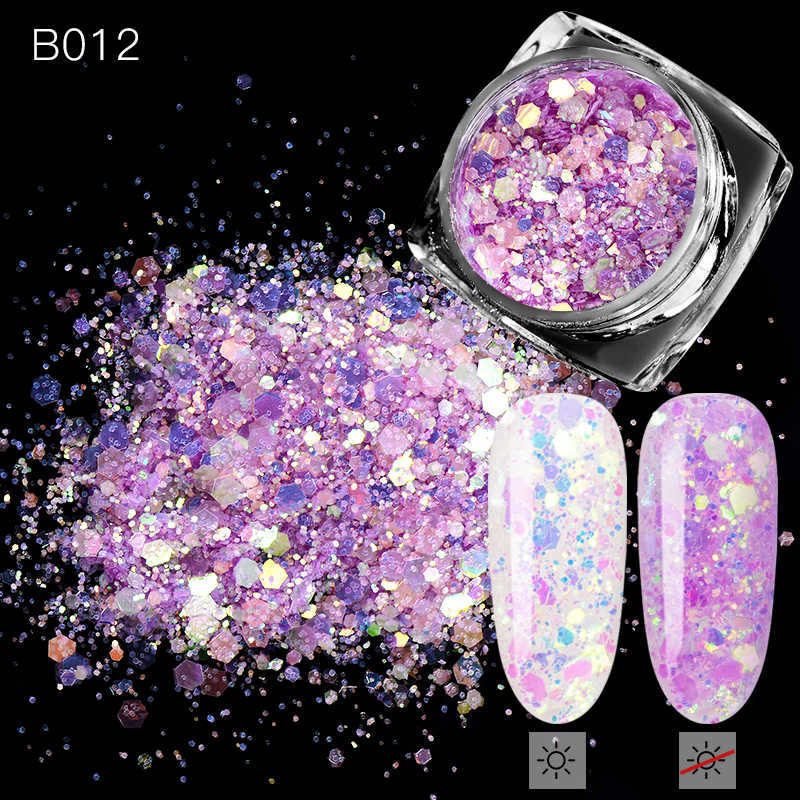 1 Box Nail Glitter Flakes Sparkly 3D Hexagon Colorful Sequins Spangles Polish Manicure Nails Art Decorations