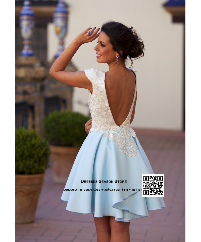 5d292b3f7a12c Custom made Elegant Short White Lace Cocktail Dress 2015 Cap Sleeve Open  Back Party Dresses Women Gowns Online-in Cocktail Dresses from Weddings &  Events on ...