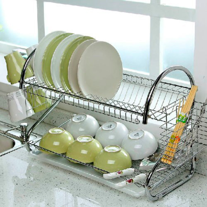 2 Tier Chrome Plate Dish Cutlery Cup Drainer Rack Drip Tray Plates Holder Silver Kitchen Storage Shelf KC36491-in Dinnerware Sets from Home u0026 Garden on ... : plate rack kitchen - Pezcame.Com
