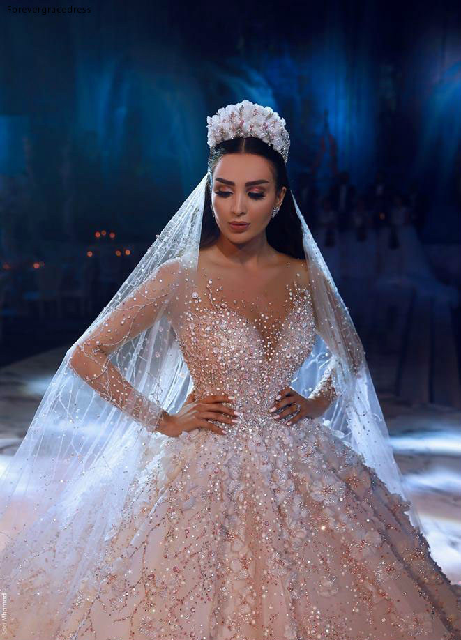 Glamorous Luxury Dubai Arabic New Fashion Lace Ball Gowns Wedding Dresses Long Sleeves 3D Flowers Beading Wedding Dress Bridal Gowns BC0151 591 (3)