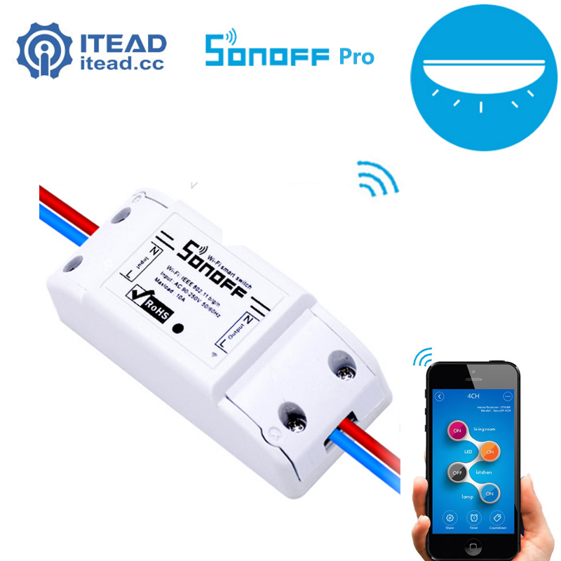 Itead Sonoff Pro - Smart Wifi Universal Wireless Switch Smart Home Automation for IOS Android 10A/2200W Snoff itead sonoff wifi remote control smart light switch smart home automation intelligent wifi center smart home controls 10a 2200w