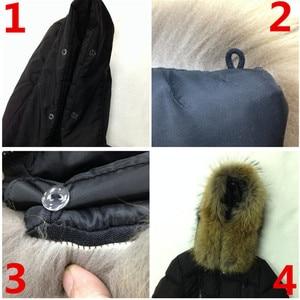 Image 5 - Меховой воротник из натурального меха енота, роскошный шарф из 100% натурального меха, шарфы Desigual, теплый женский зимний пуховик с капюшоном # BF01