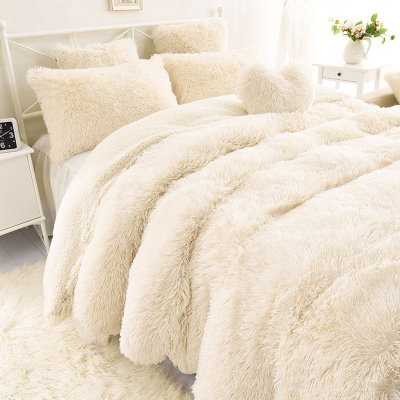 Wonderful Flannel short plush bedding Duvet Cover Set Nordic Style Bedding  EY86