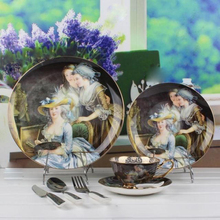 England Royal Bone China Dinner Det Porcelain Dinnerware China European Figure Oil Painting Noblewoman Porcelain Dinner Dish set