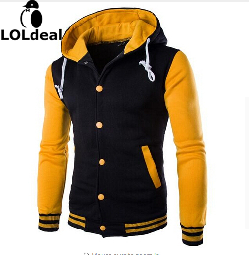 Loldeal Autumn And Winter New Even The Cap Baseball 8 Color Men's Slim Velour Hoodie