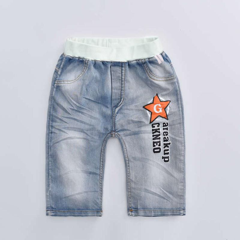 2019 hot summer design light blue star print kid   short   pants boys   shorts   elegant jeans denim   shorts   for teen children 3-13 years