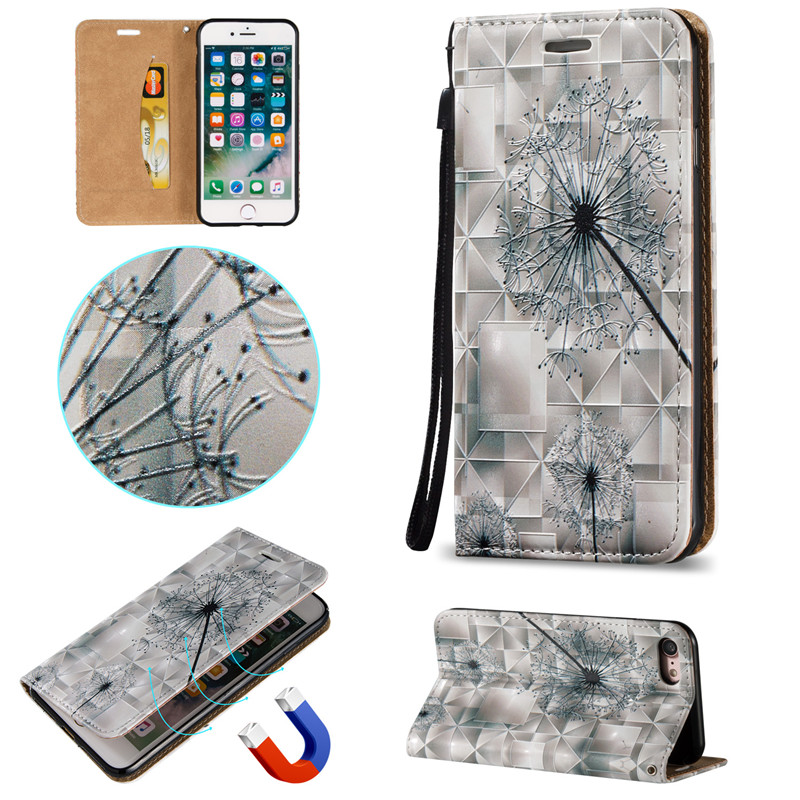 3D Relief PU Leather Flip Cover For iPhone 7 Case Strong Magnetic Phone Cover Dandelion poker Skull Feather design
