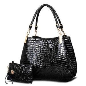 Image 2 - 2 bag/set  Fashion crocodile borse women totes lady handbag+purse/wallet carteras mujer big capacity black white shoulder kit