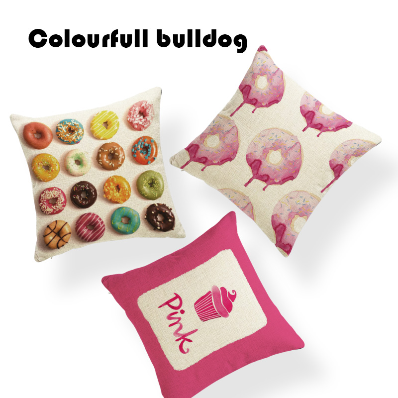 Fashion Cherry Cupcake Donuts Toss Pillow Mid Century Cushions Settee 18X18 Woven Linen Decor Home Autumn Lumbar Pillow Covers