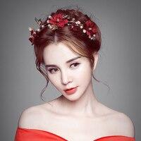 Modest Red Floral Headband Princess Gold Color Butterfly Crown Tiara Bridal Headdress Girls Hair Accessories Wedding