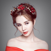 Modest Red Floral Headband Princess Gold Color Butterfly Crown Tiara Bridal Headdress Girls Hair Accessories Wedding Bride Gifts