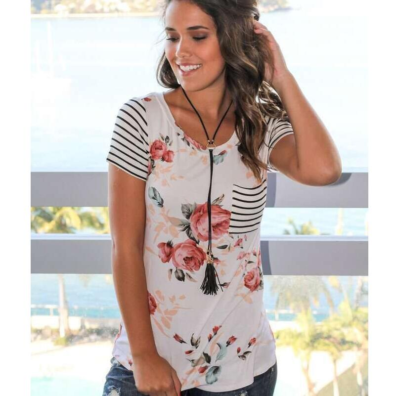 Women Long Sleeve V-neck Flower Print Top T-shirt Loose Casual Spring And Autumn Plus Size Top A Fiori A Maniche Lunghe Donna*n Women's Clothing Tops & Tees