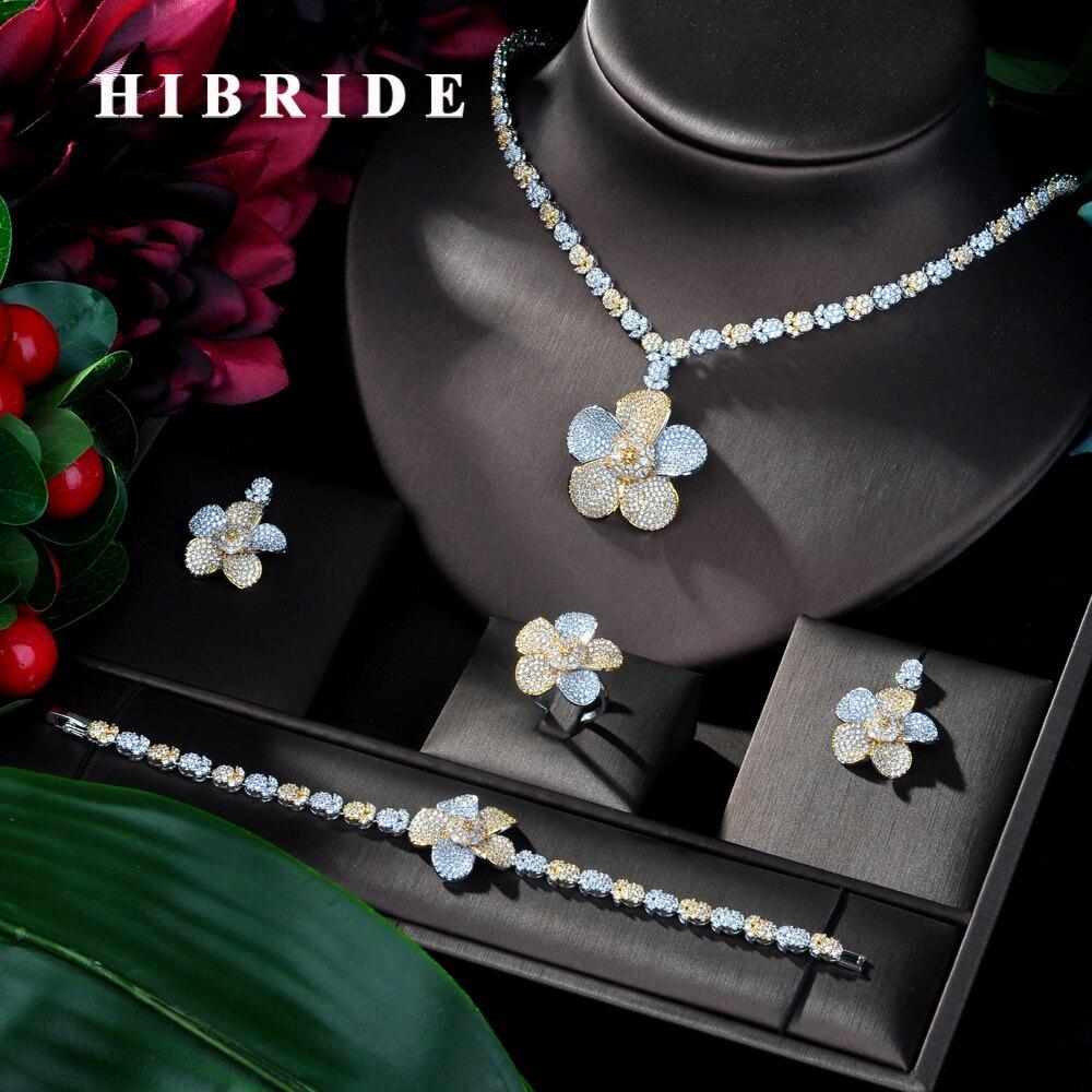 HIBRIDE mode 2 tons bijoux africains ensemble pour femmes zircone décoré Dubai mariage bijoux ensemble de mariée Costume JewelryN-126