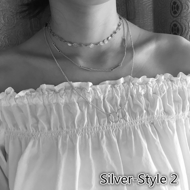 Pameng Silver Color Chain Leaves Multi Layer Choker Necklace for Women Collier Femme Fashion Jewelry Gold Color 4