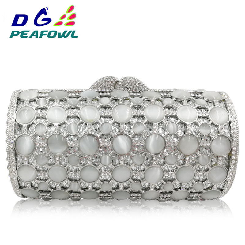 Rhinestones Women Evening Bags Metal Minaudiere Wedding Party stone Clutch Handbag Purse metal evening Bag image