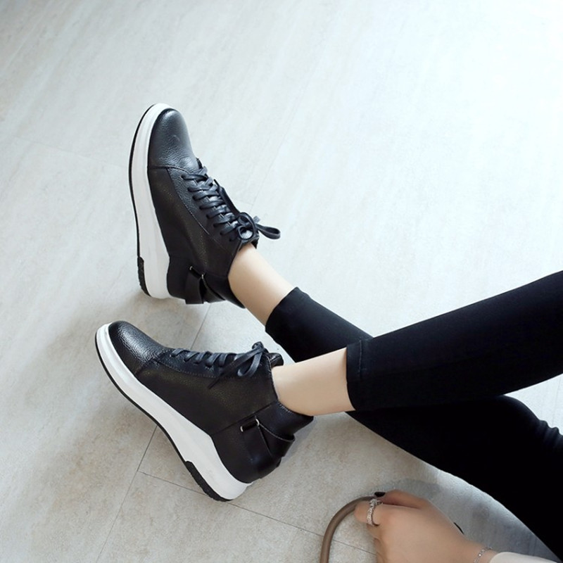 Grande taille 34-43 femmes bottes compensées cacher talons bottes décontractées doux plat cheville Martin chaussures mujer mode à lacets Sport bottines - 4