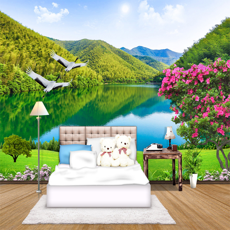 Custom 3D Photo Mural Wallpaper Chinese Style Natural Landscape Green Mountains Forest Lake Crane Wall Mural Paper For Bedroom