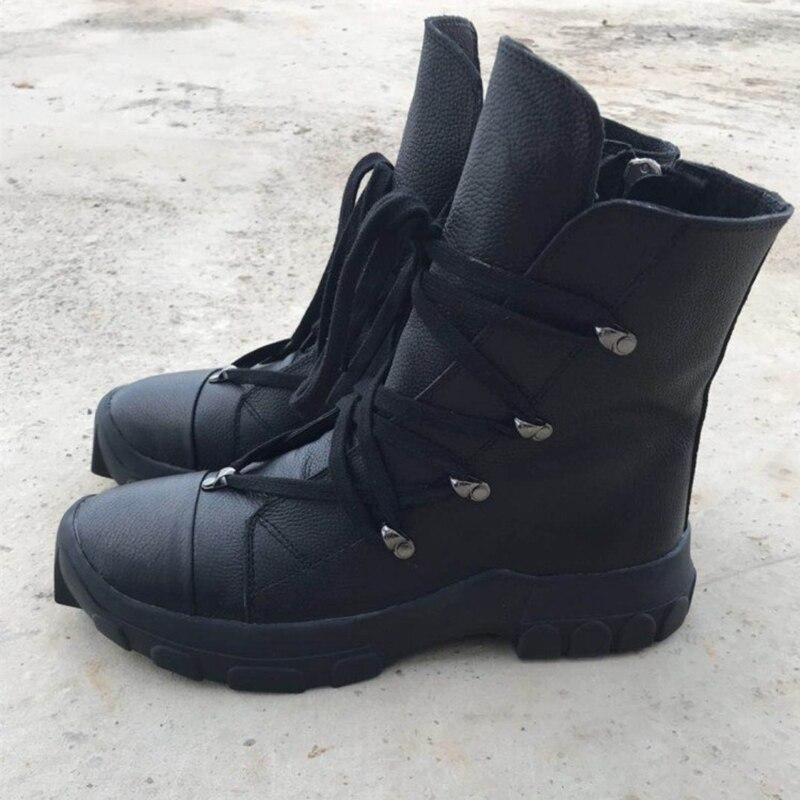 690546192e79f Orteil boy Vache Hiver Bottes En Male Acier Hommes Chaussures Cuir Casual  Automne Véritable Noir Nouvelle Cow Britannique Martin Chelsea 6xqYwFH