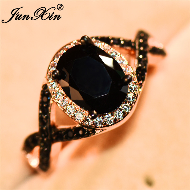 JUNXIN Big Oval Stone Cross X Rings For Women Rose Gold Filled Zircon Crystal Black Ring Female Wedding Bands Mom New Year Gift
