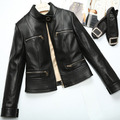 2017 new collar short paragraph leather jacket Simple woman's sheep sheepskin Locomotive Leather clothing ZY74
