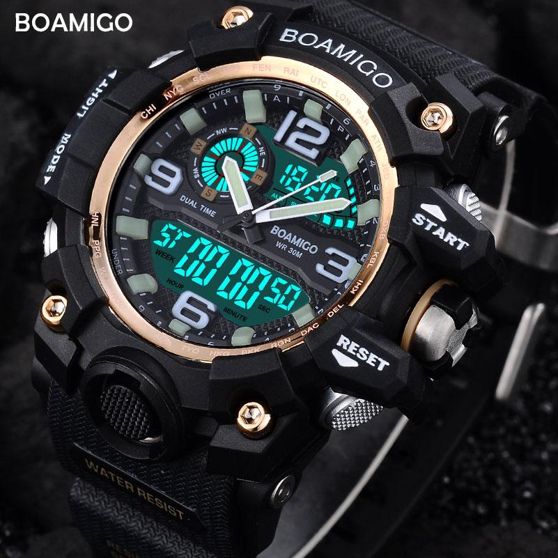 BOAMIGO Men Sports Watches Dual Display Analog Digital LED Electronic Quartz Wristwatches Waterproof Swimming Military Watch