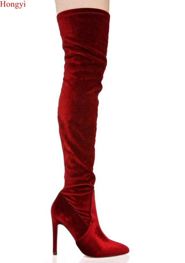 Fashion Winter Wine Red Over The Knee Pointed Toe Soft Boots Women Thin heeled Slim Fit Gladiator Fashion Show Booty 2017
