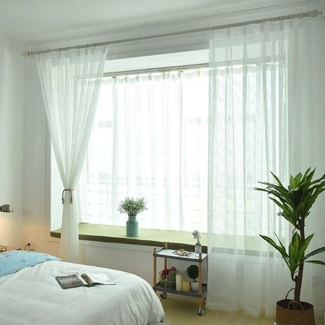 Bianco Puro Tulle Tenda Della Finestra Para Sala Paesaggio Tenda Tulle per Soggiorno Tende Caffè Tenda di Finestra Tende WP039-30