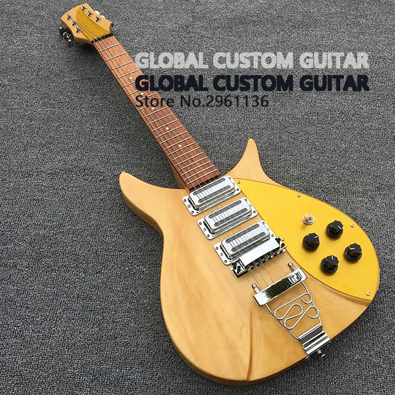 High quality rickenbacker electric guitar, original wood color,fixation Pull string boar ...